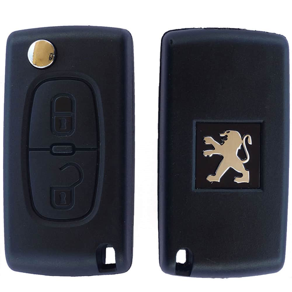 peugeot replacement 2 button remote car key fob case with hu83 flip